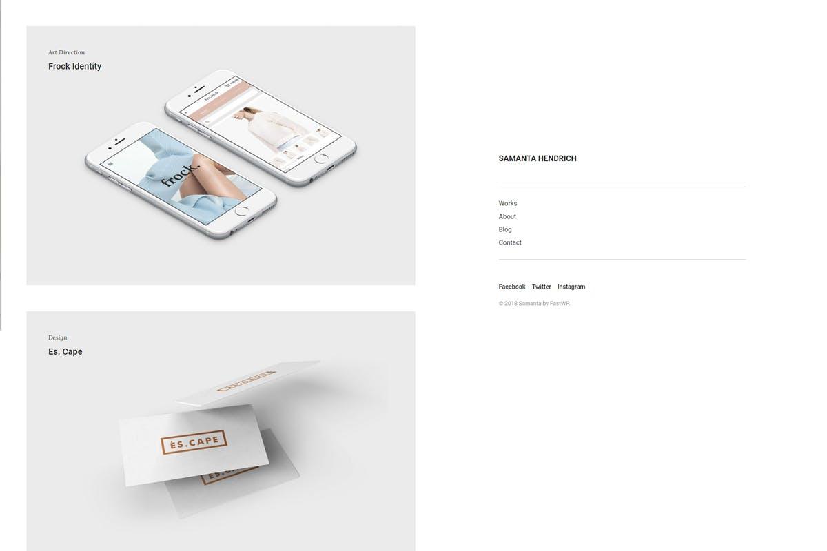 Samanta - Minimal Portfolio WordPress Theme