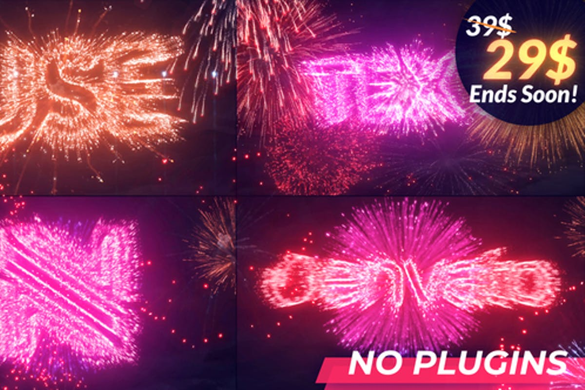 Text   Logo Fireworks For Premiere Pro